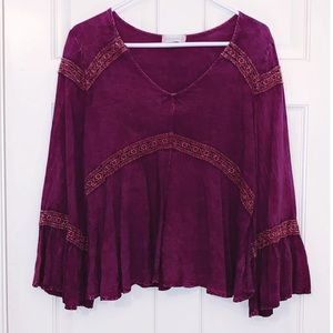 Altar'd State Purple Bell Sleeve Top